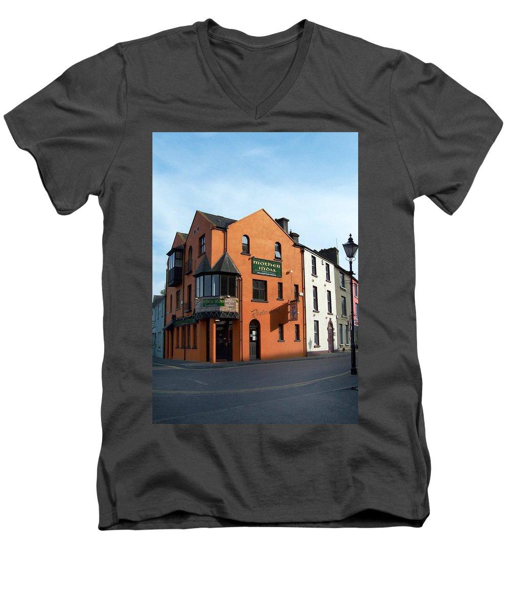 Ireland Men's V-Neck T-Shirt featuring the photograph Mother India Restaurant Athlone Ireland by Teresa Mucha
