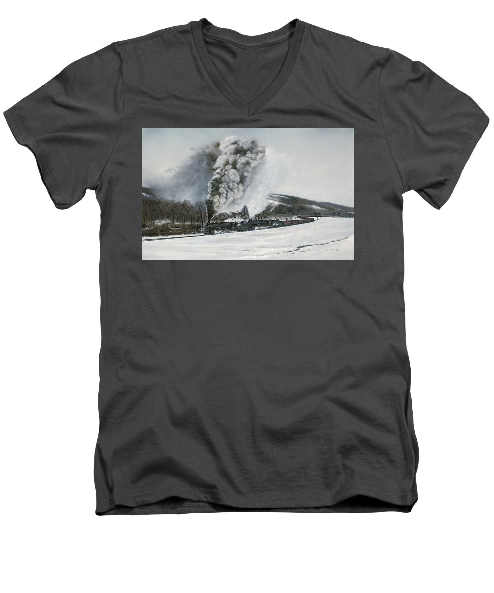 Trains Men's V-Neck T-Shirt featuring the painting Mount Carmel Eruption by David Mittner