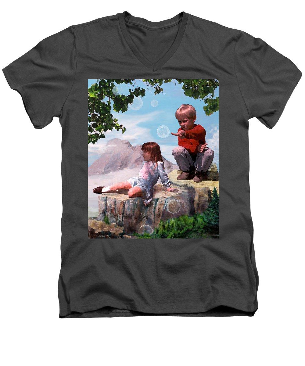Landscape Men's V-Neck T-Shirt featuring the painting Mount Innocence by Steve Karol