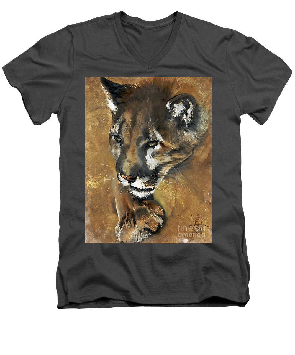 Southwest Art Men's V-Neck T-Shirt featuring the painting Mountain Lion - Guardian Of The North by J W Baker