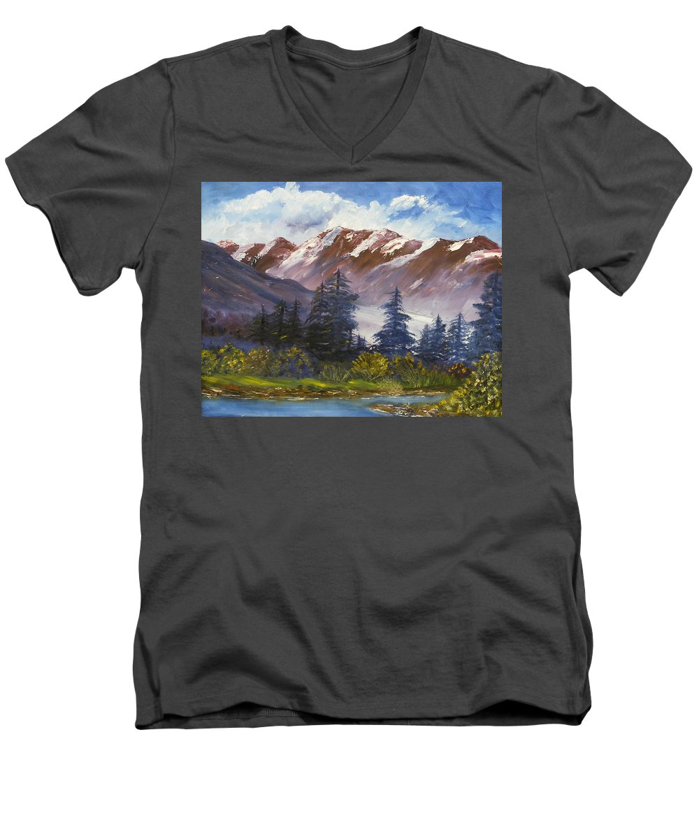 Oil Painting Men's V-Neck T-Shirt featuring the painting Mountains I by Lessandra Grimley