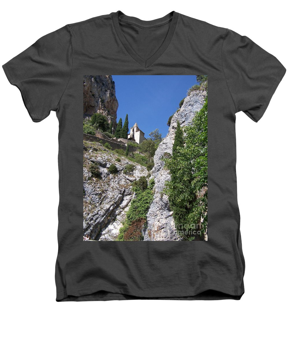 Church Men's V-Neck T-Shirt featuring the photograph Moustier St. Marie Church by Nadine Rippelmeyer