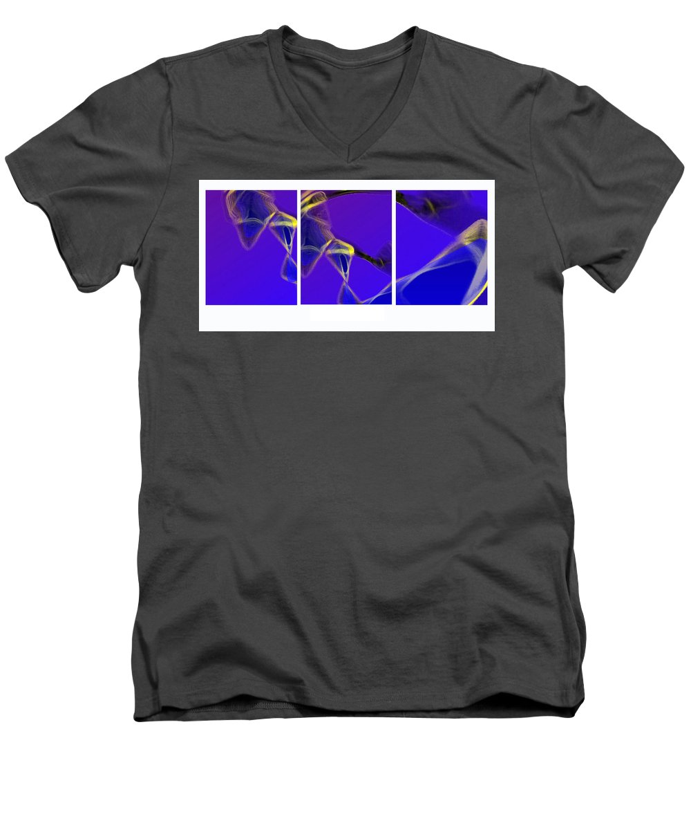 Abstract Men's V-Neck T-Shirt featuring the digital art Movement In Blue by Steve Karol
