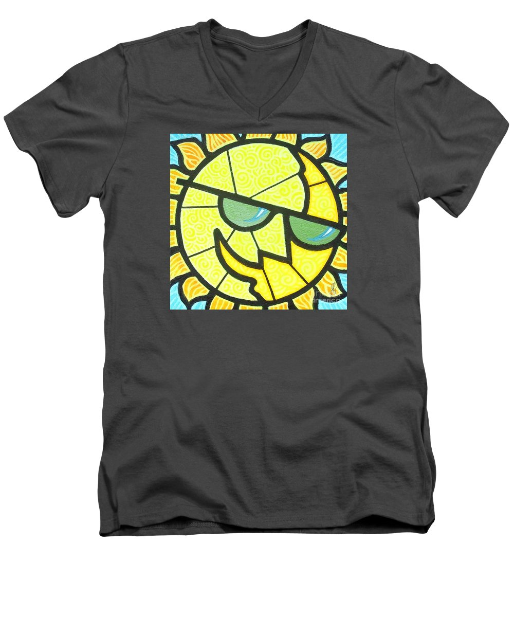 Sunshine Men's V-Neck T-Shirt featuring the painting Mr Sunny Day by Jim Harris