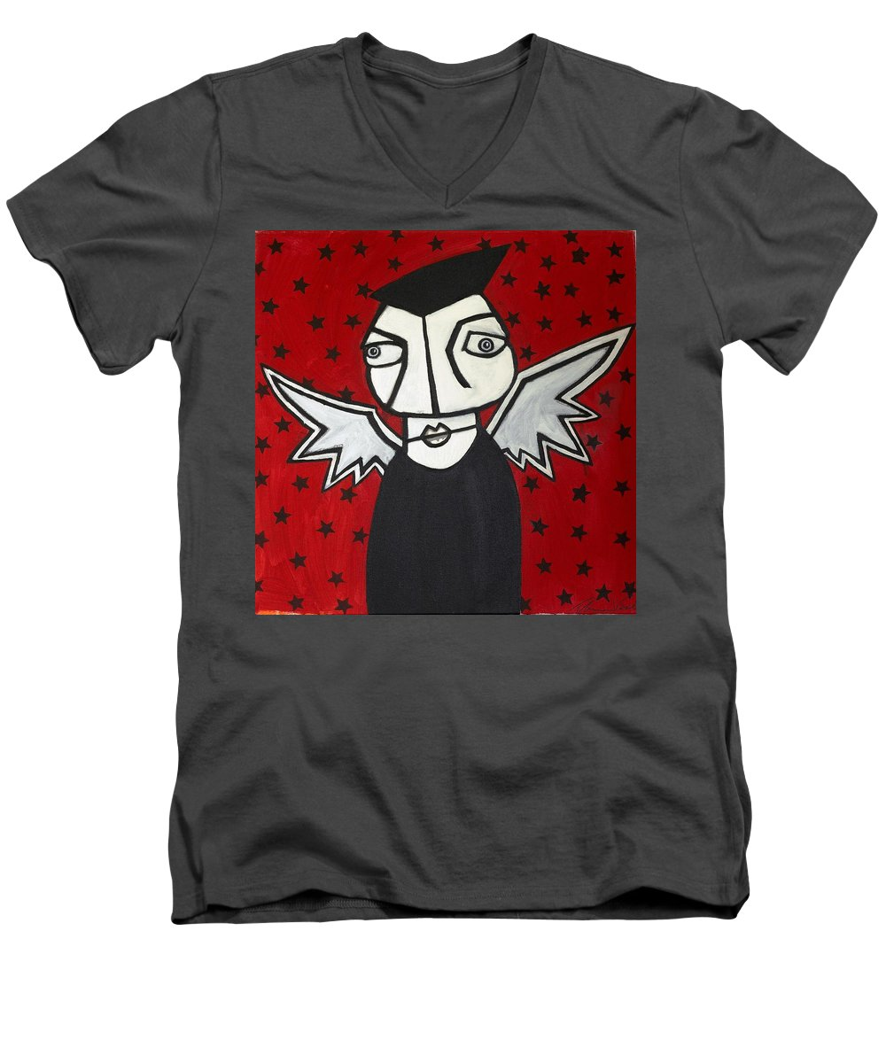 Clay Men's V-Neck T-Shirt featuring the painting Mr.creepy by Thomas Valentine