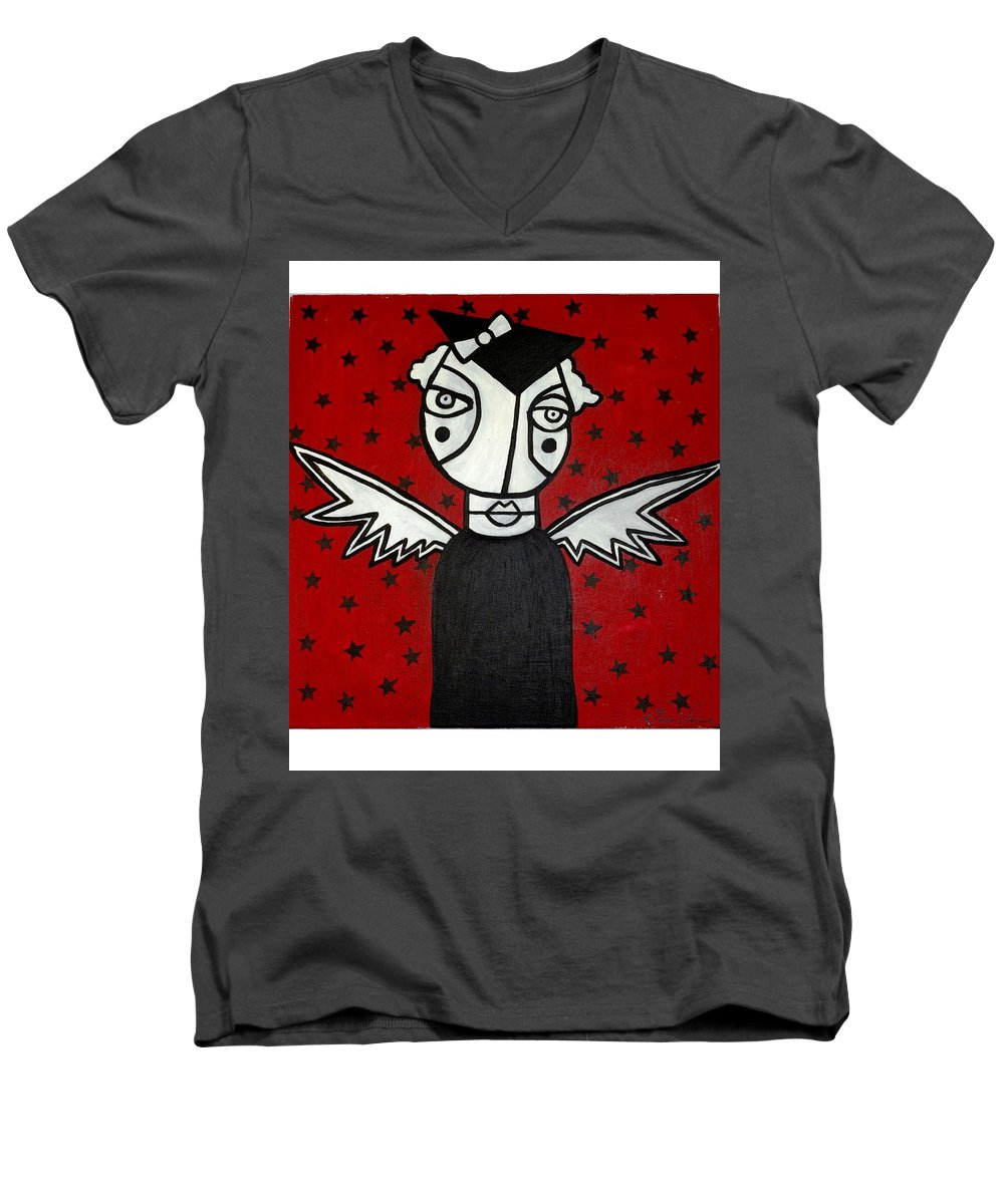 Potrait Men's V-Neck T-Shirt featuring the painting Mrs.creepy by Thomas Valentine