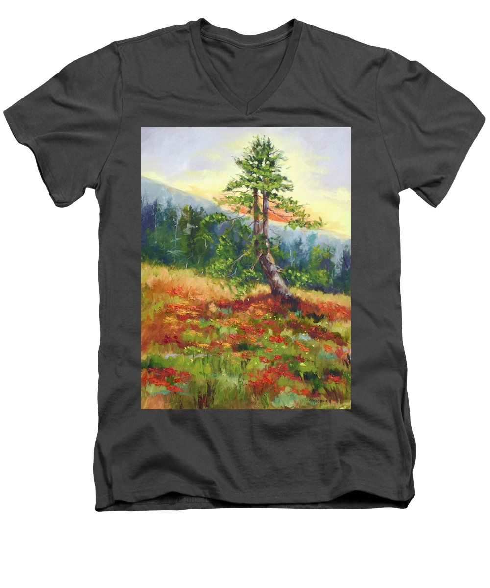 Mt.jumbo Tree Men's V-Neck T-Shirt featuring the painting Mt. Jumbo Tree Ak by Ginger Concepcion