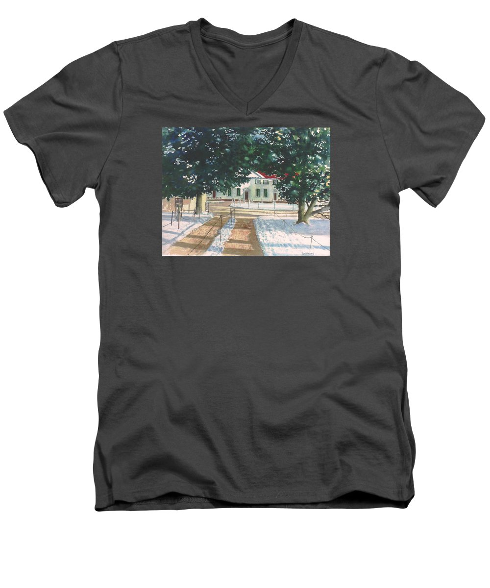 Landscape Men's V-Neck T-Shirt featuring the painting Mt. Vernon After The Visitors Have All Gone Home by Tom Harris
