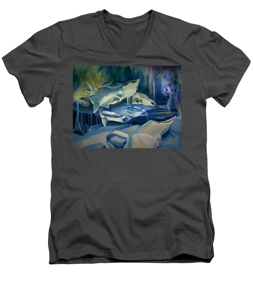 Surreal Men's V-Neck T-Shirt featuring the painting Mural Skulls Of Lifes Past by Nancy Griswold