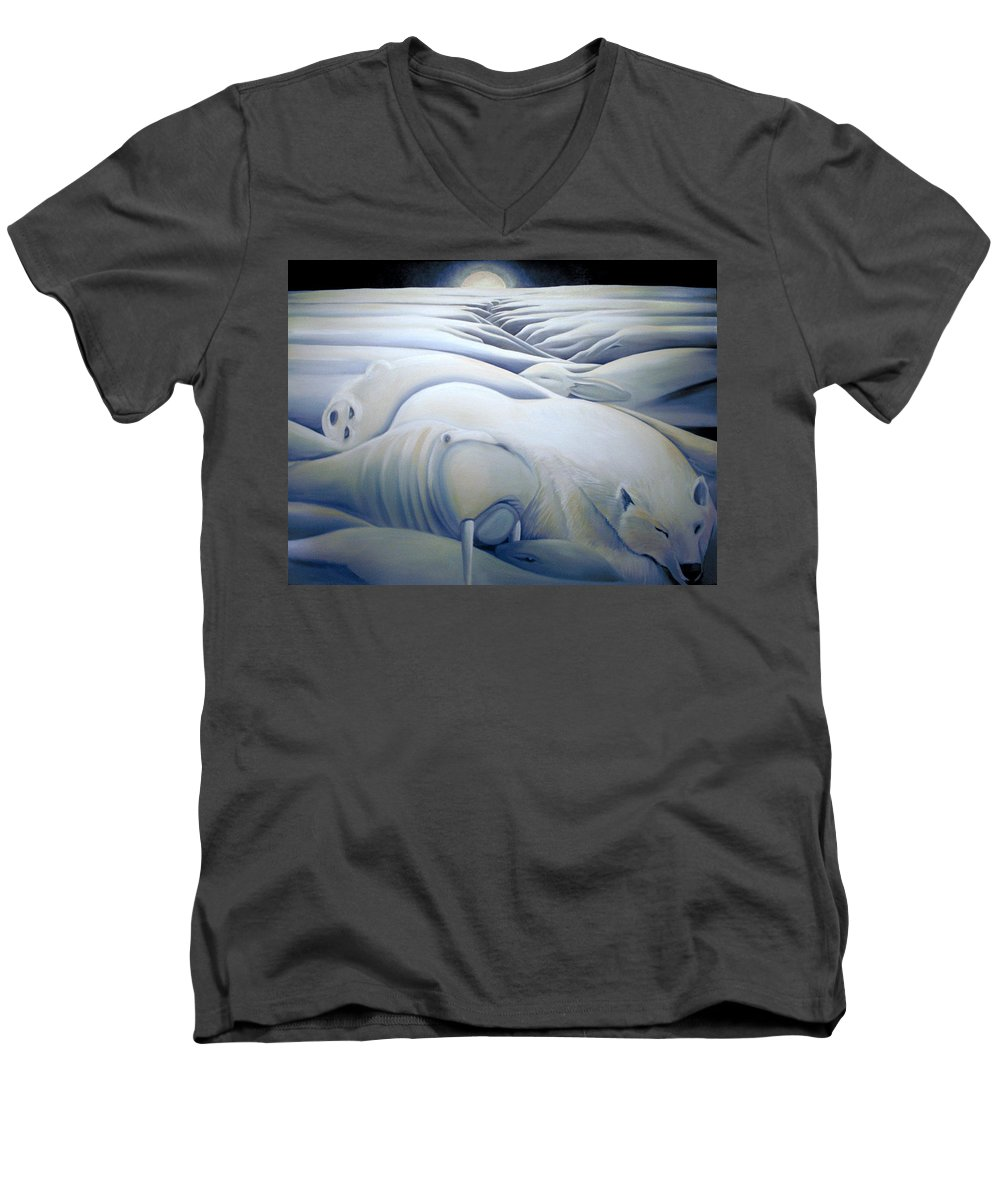 Mural Men's V-Neck T-Shirt featuring the painting Mural Winters Embracing Crevice by Nancy Griswold