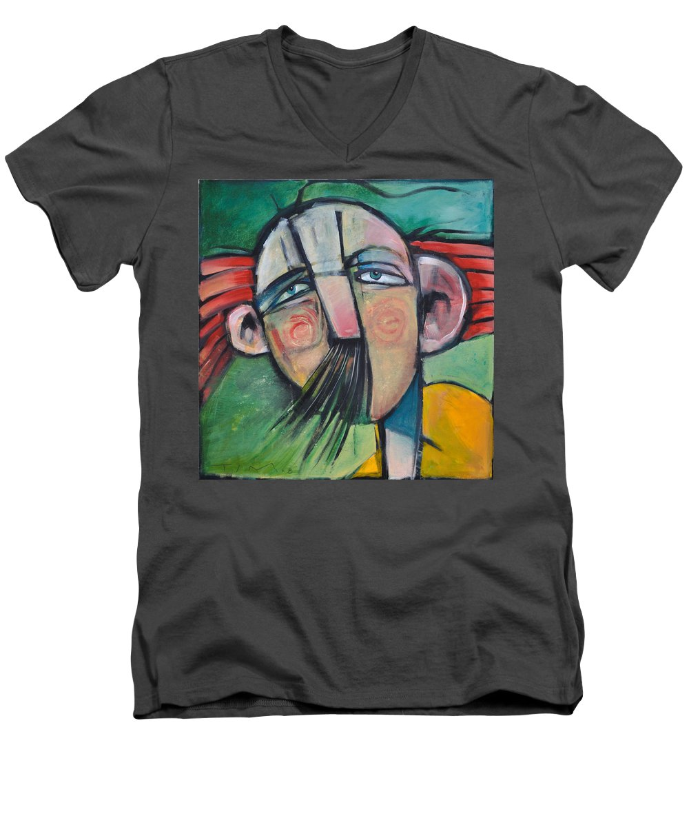 Humor Men's V-Neck T-Shirt featuring the painting Mustached Man In Wind by Tim Nyberg