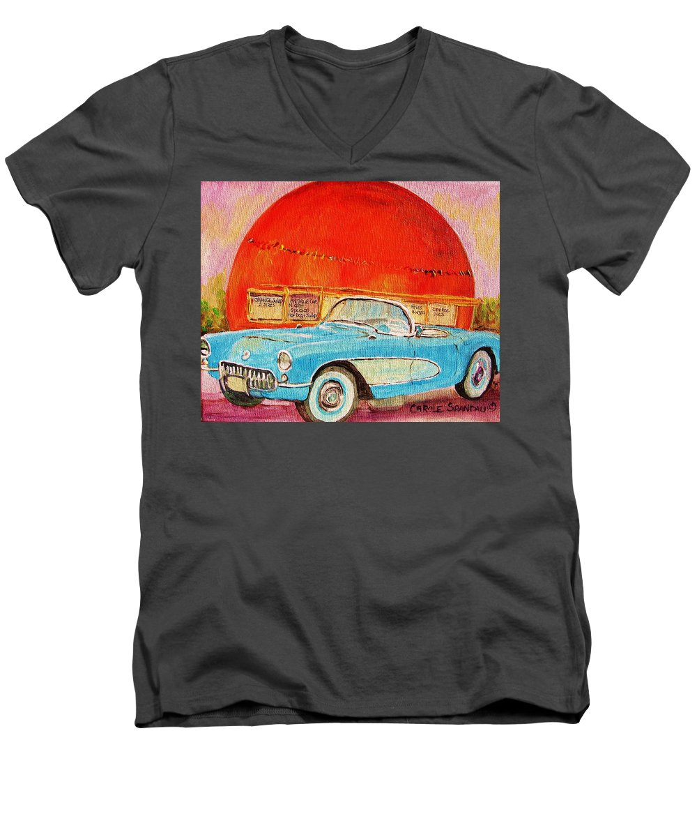 Montreal Men's V-Neck T-Shirt featuring the painting My Blue Corvette At The Orange Julep by Carole Spandau
