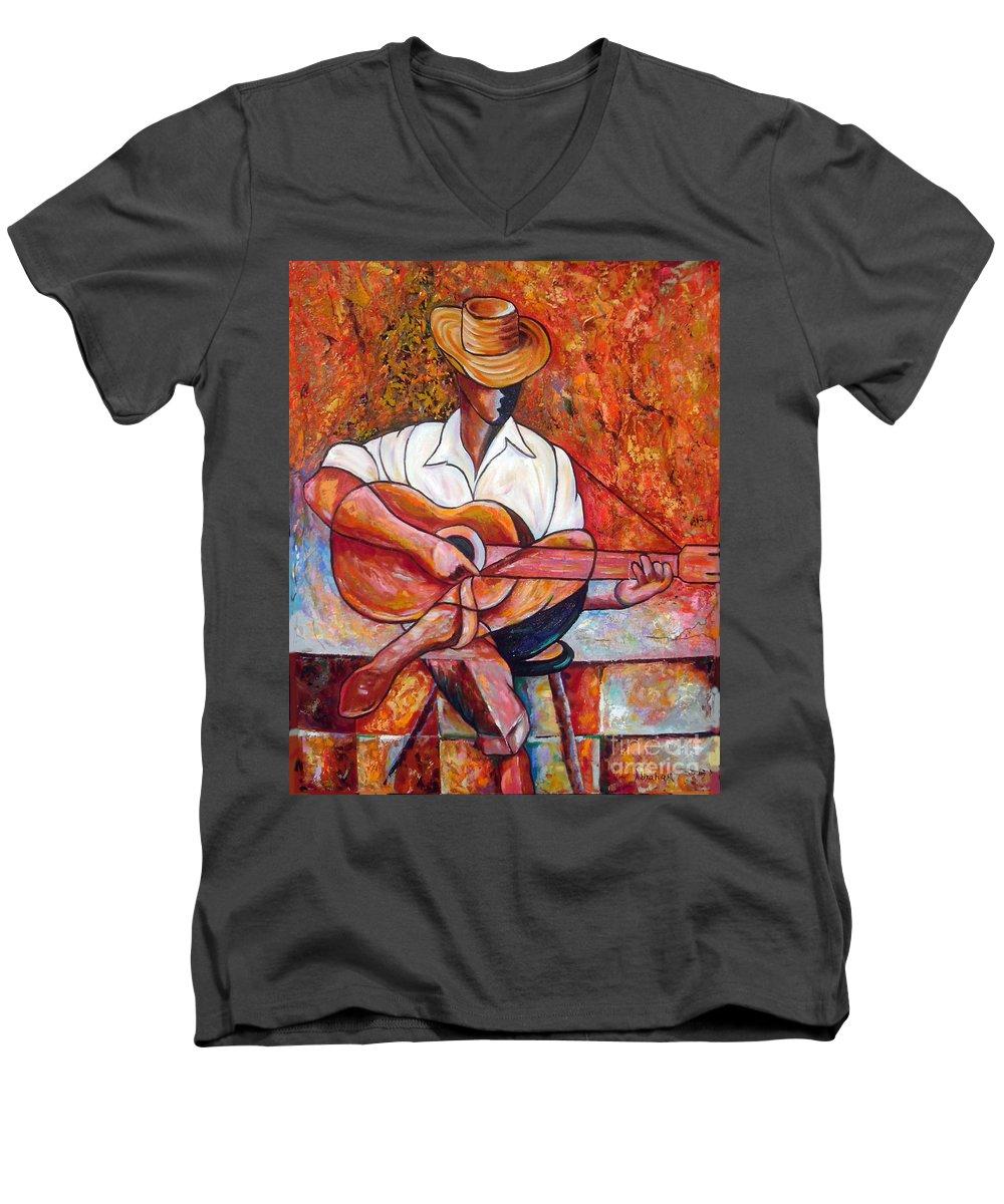 Cuba Art Men's V-Neck T-Shirt featuring the painting My Guitar by Jose Manuel Abraham