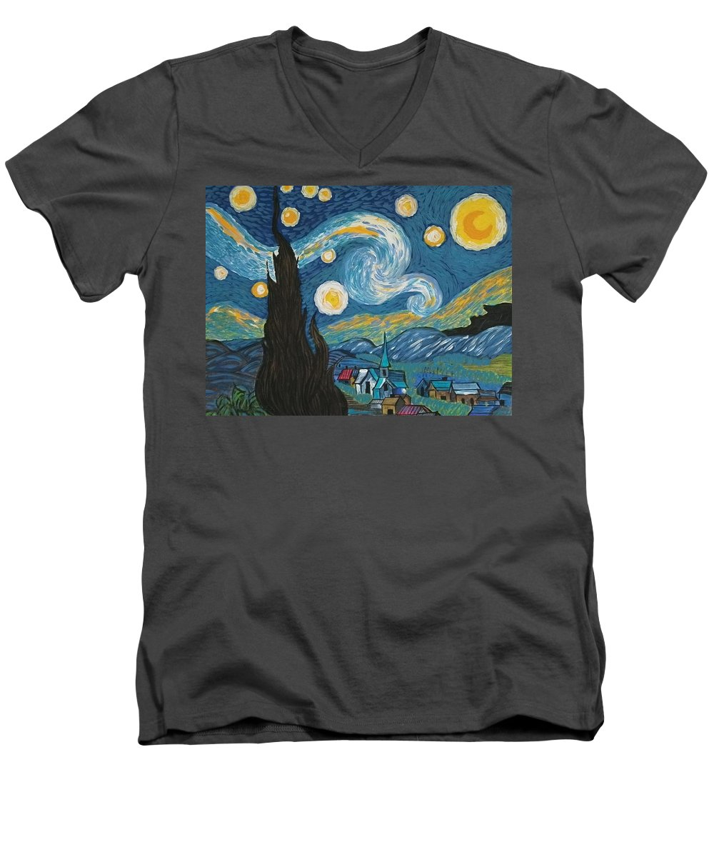 Vincent Men's V-Neck T-Shirt featuring the painting My Starry Nite by Angela Miles Varnado