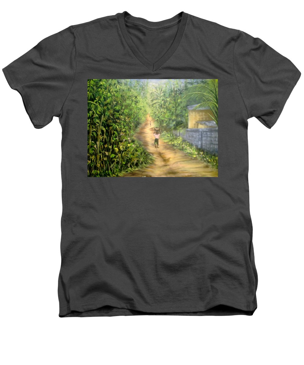 Culture Men's V-Neck T-Shirt featuring the painting My Village by Olaoluwa Smith