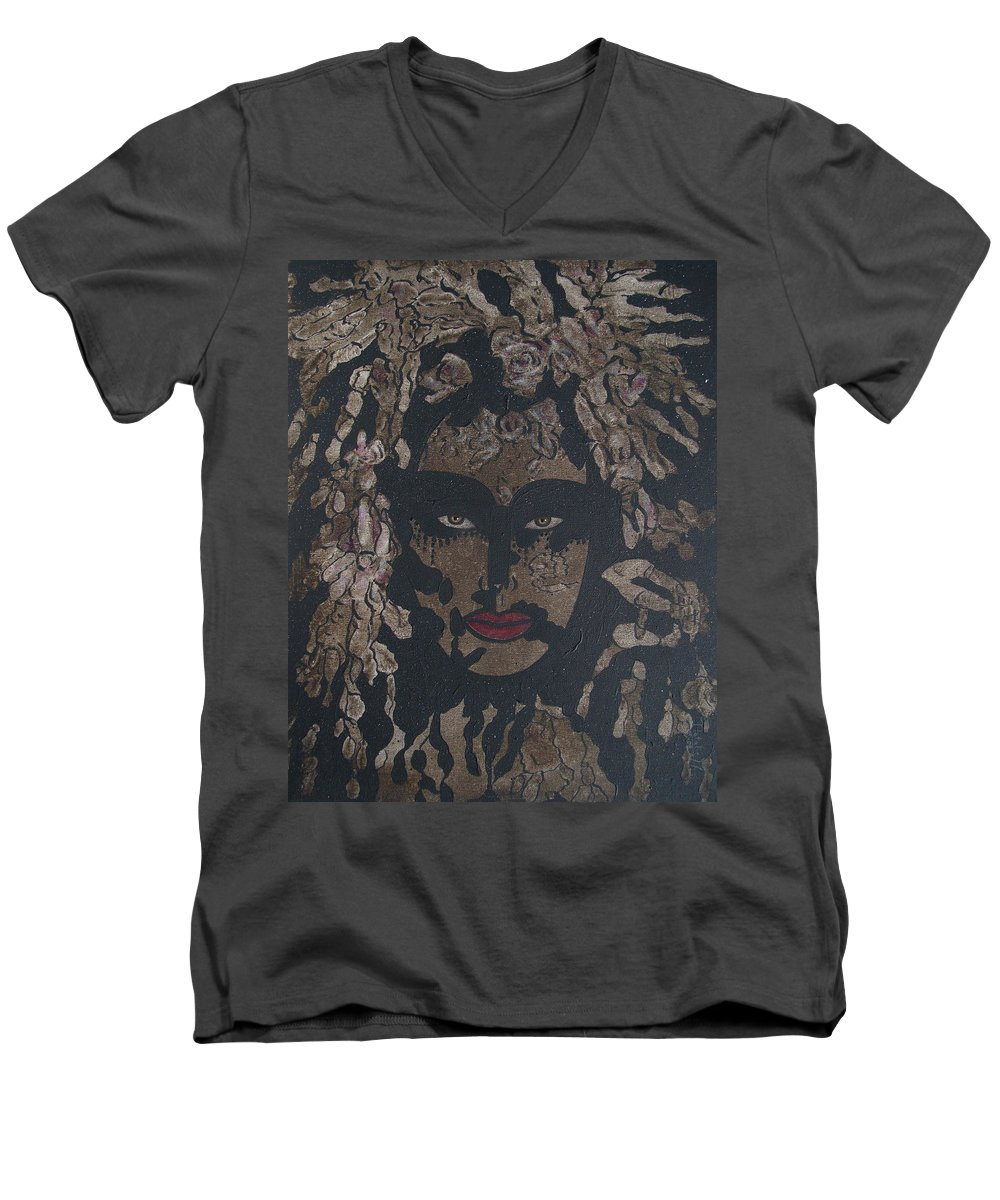 Figurative Men's V-Neck T-Shirt featuring the painting Mysterious Desire by Natalie Holland