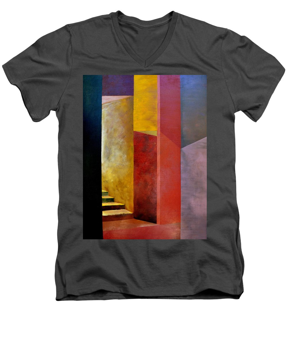 Gold Men's V-Neck T-Shirt featuring the painting Mystery Stairway by Michelle Calkins