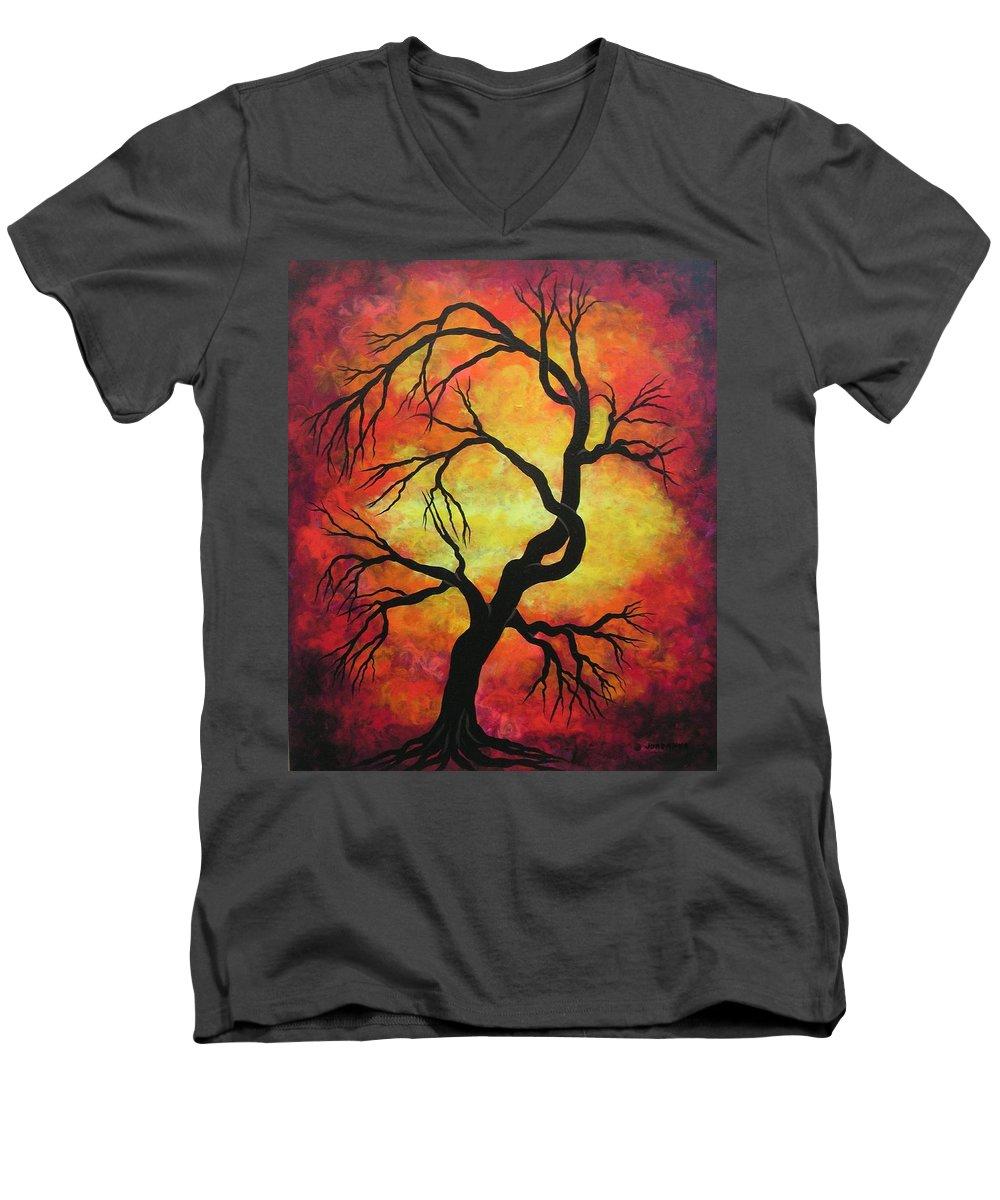 Acrylic Men's V-Neck T-Shirt featuring the painting Mystic Firestorm by Jordanka Yaretz