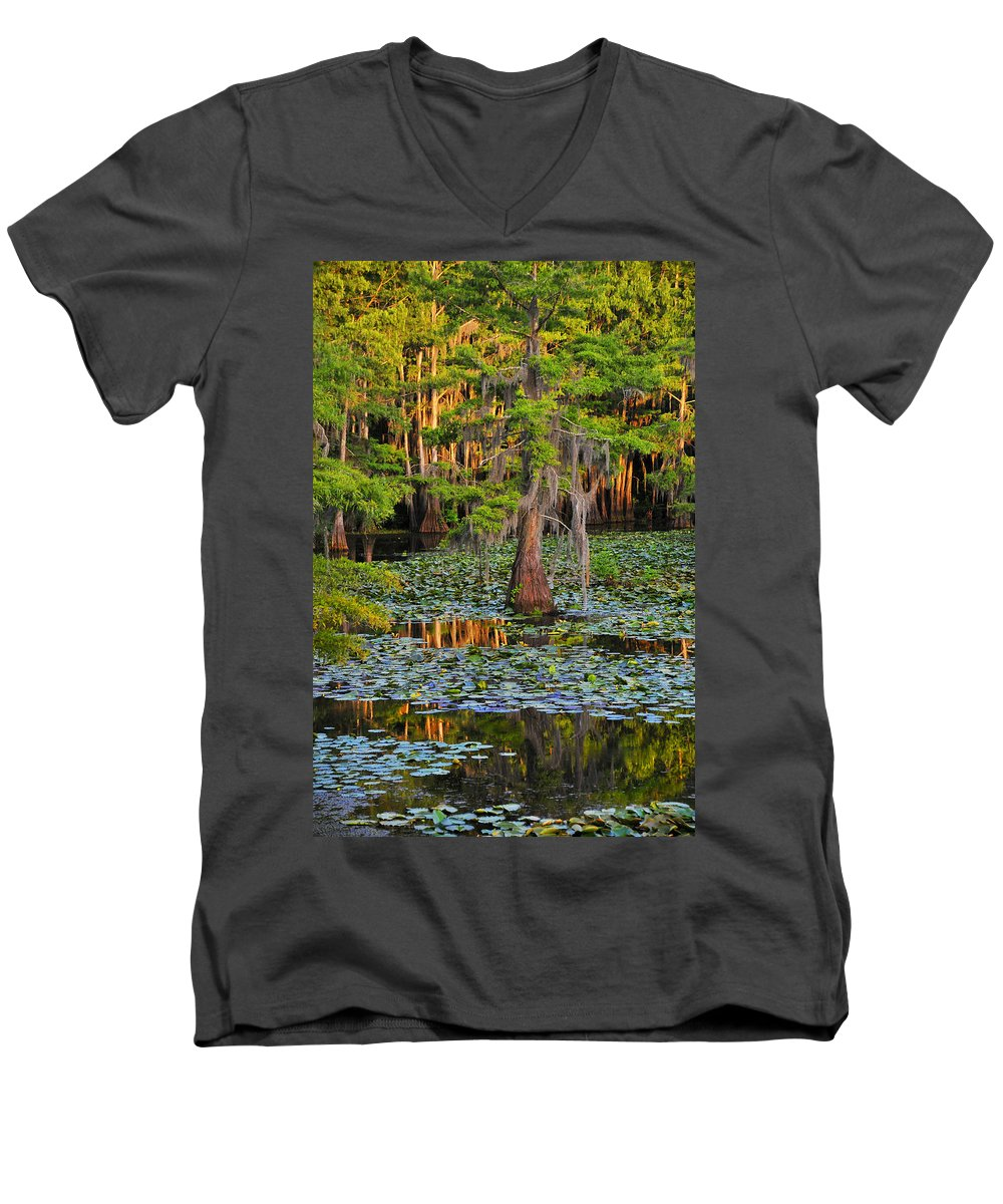 Bog Men's V-Neck T-Shirt featuring the photograph Naked by Skip Hunt