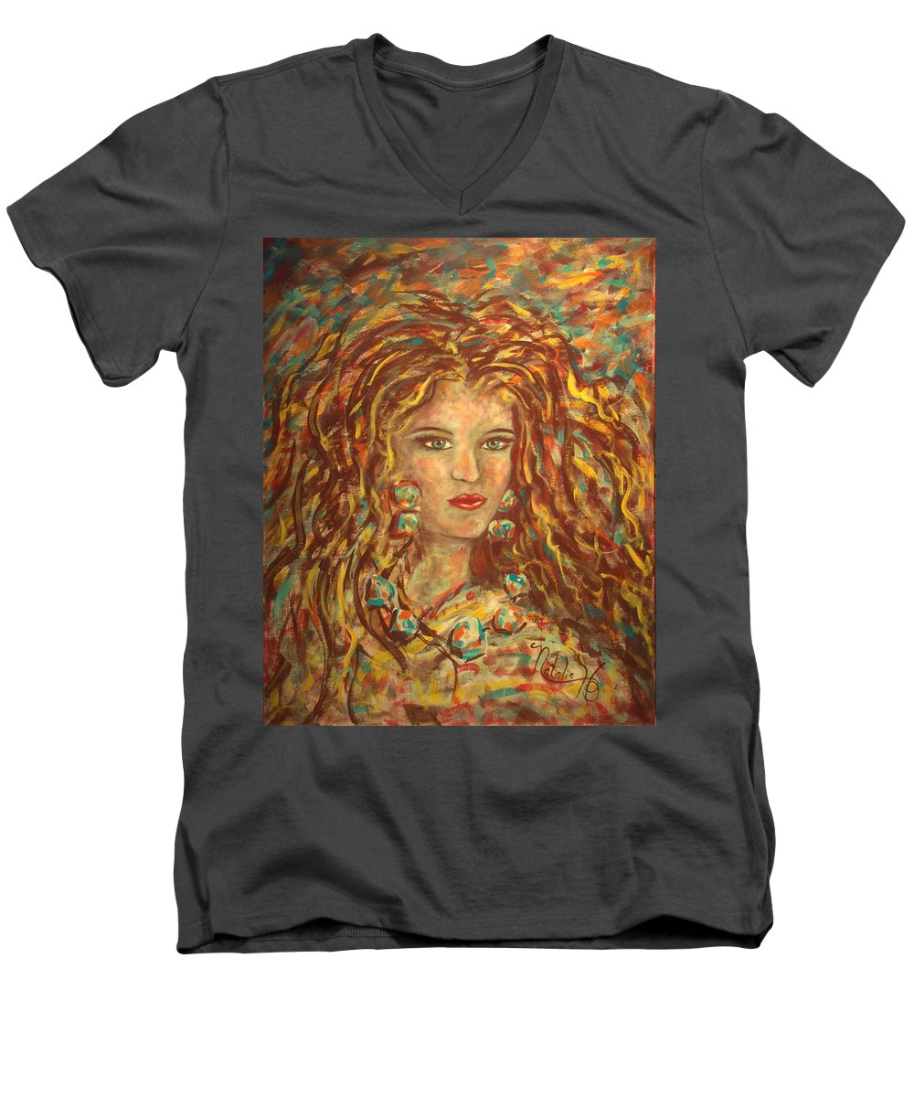Natashka Men's V-Neck T-Shirt featuring the painting Natashka by Natalie Holland