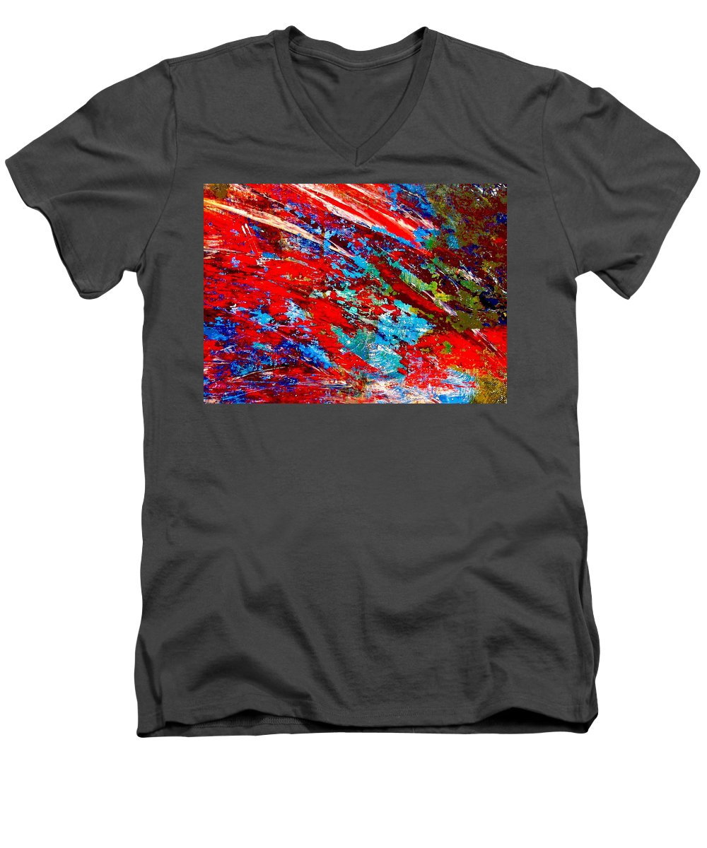 Abstract Men's V-Neck T-Shirt featuring the painting Nature Harmony by Natalie Holland