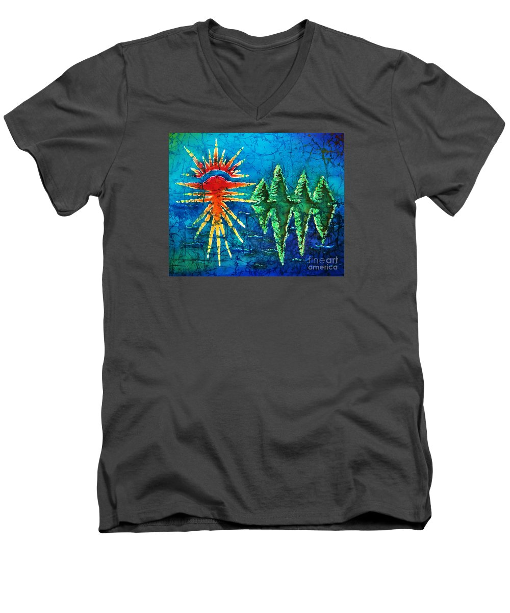 Trees Men's V-Neck T-Shirt featuring the painting Nature by Sue Duda