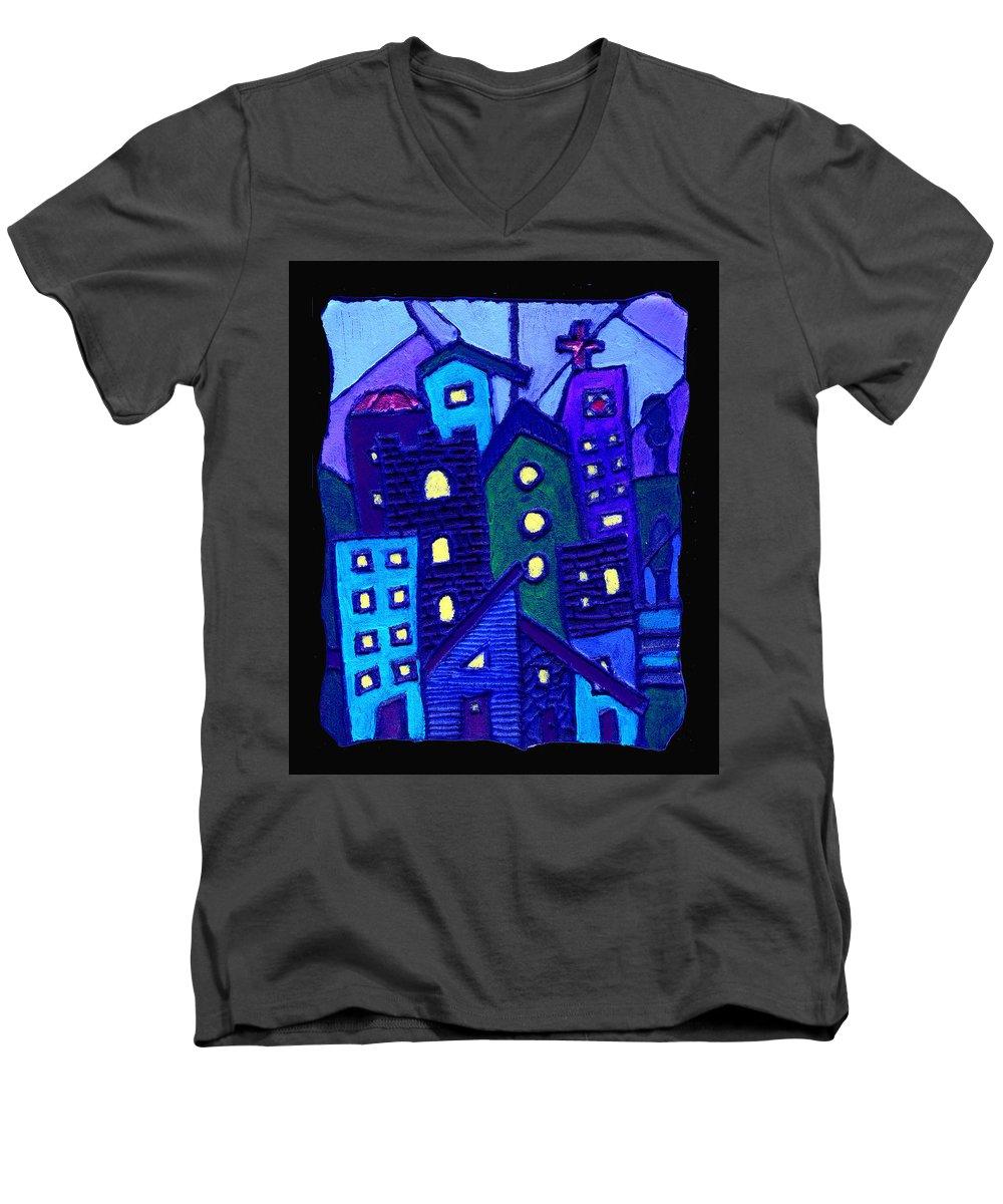 Urban Men's V-Neck T-Shirt featuring the painting Neighborhood Blues by Wayne Potrafka