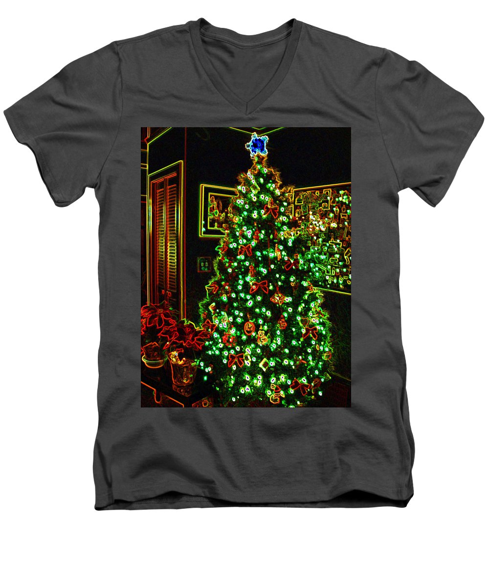 Christmas Men's V-Neck T-Shirt featuring the photograph Neon Christmas Tree by Nancy Mueller