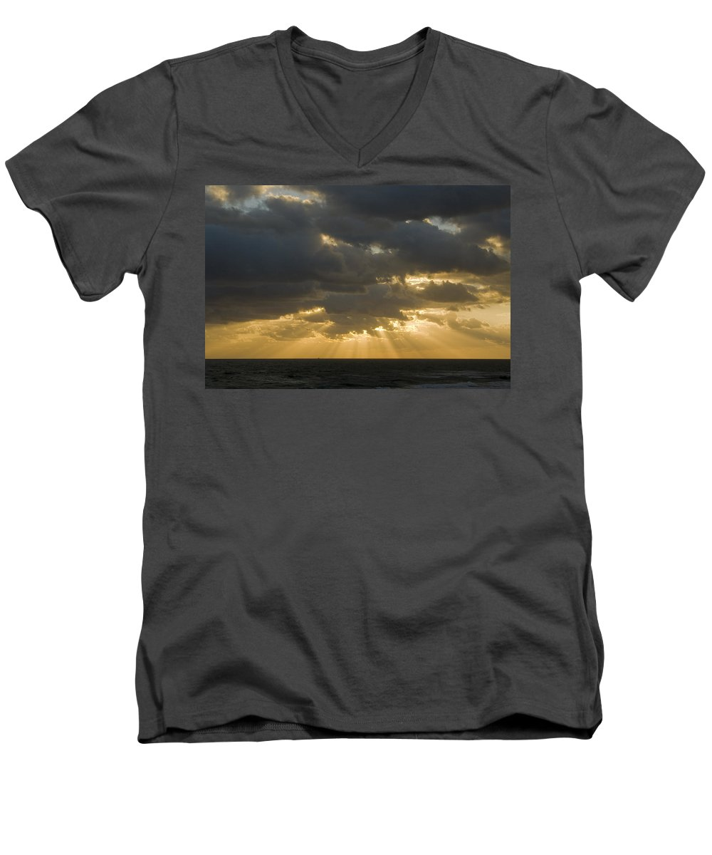 Ocean Sunset Sun Cloud Clouds Ray Rays Beam Beams Bright Wave Waves Water Sea Beach Golden Nature Men's V-Neck T-Shirt featuring the photograph New Beginning by Andrei Shliakhau