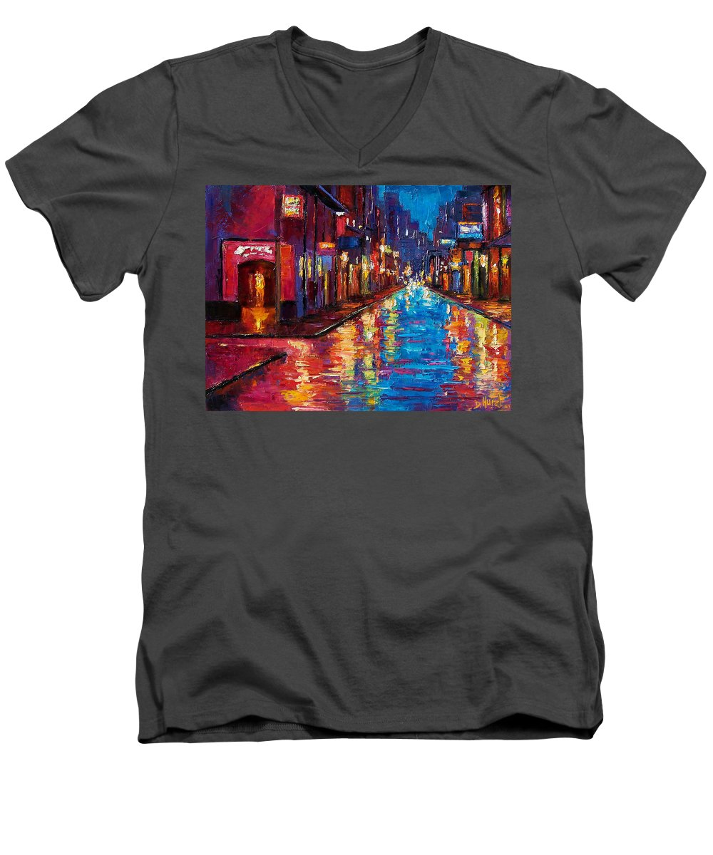 New Orleans Men's V-Neck T-Shirt featuring the painting New Orleans Magic by Debra Hurd