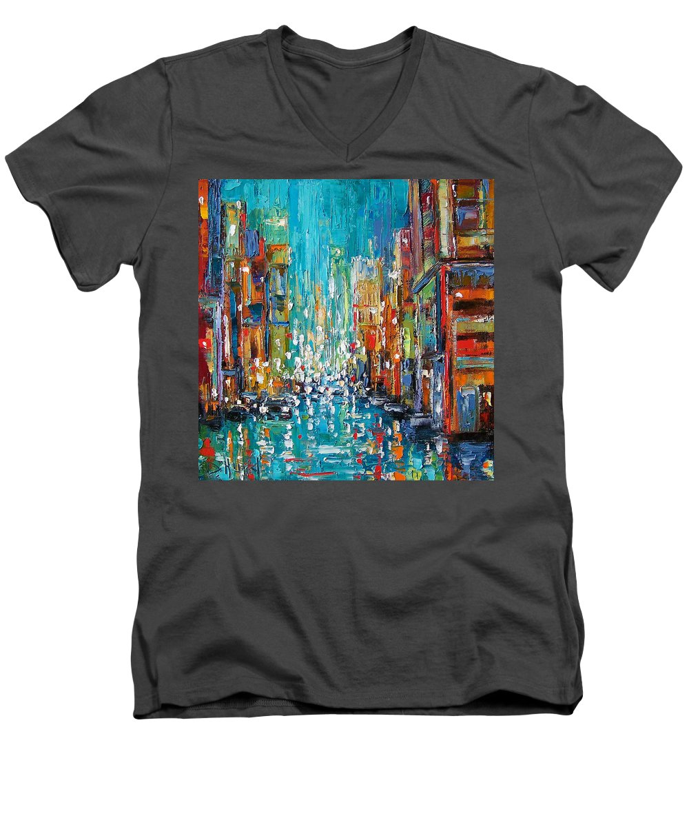 City Art Men's V-Neck T-Shirt featuring the painting New York City by Debra Hurd