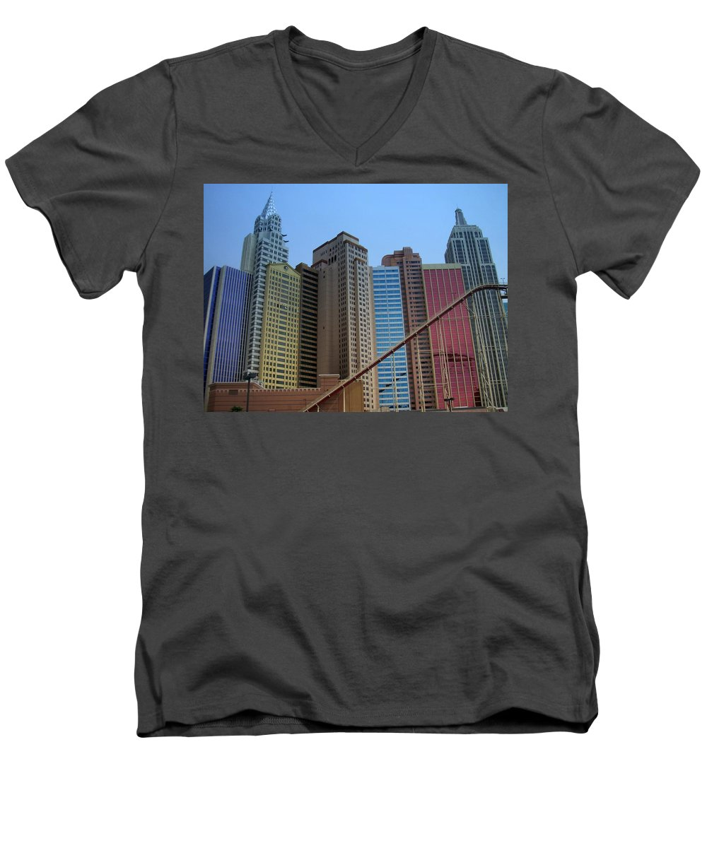 Vegas Men's V-Neck T-Shirt featuring the photograph New York Hotel by Anita Burgermeister