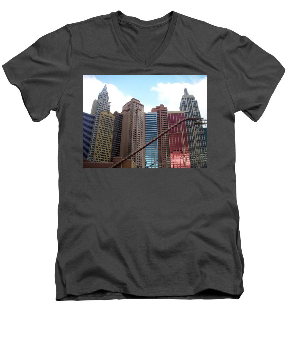 Vegas Men's V-Neck T-Shirt featuring the photograph New York Hotel With Clouds by Anita Burgermeister