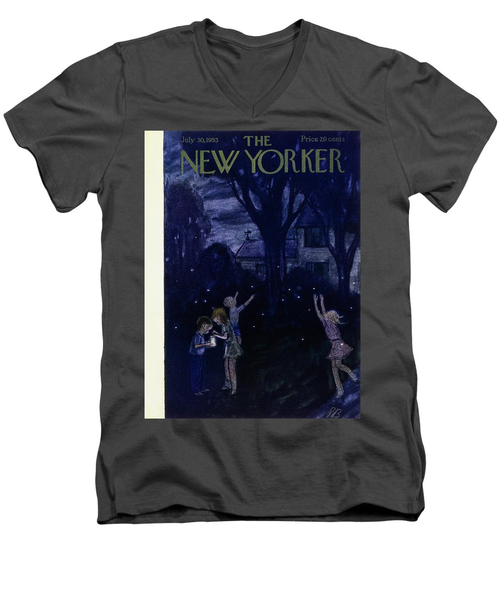 Night Men's V-Neck T-Shirt featuring the painting New Yorker July 30 1955 by Perry Barlow