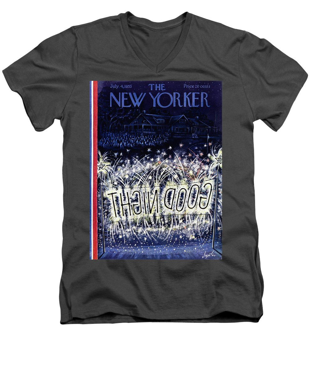 Independence Day Men's V-Neck T-Shirt featuring the painting New Yorker July 4 1953 by Constantin Alajalov