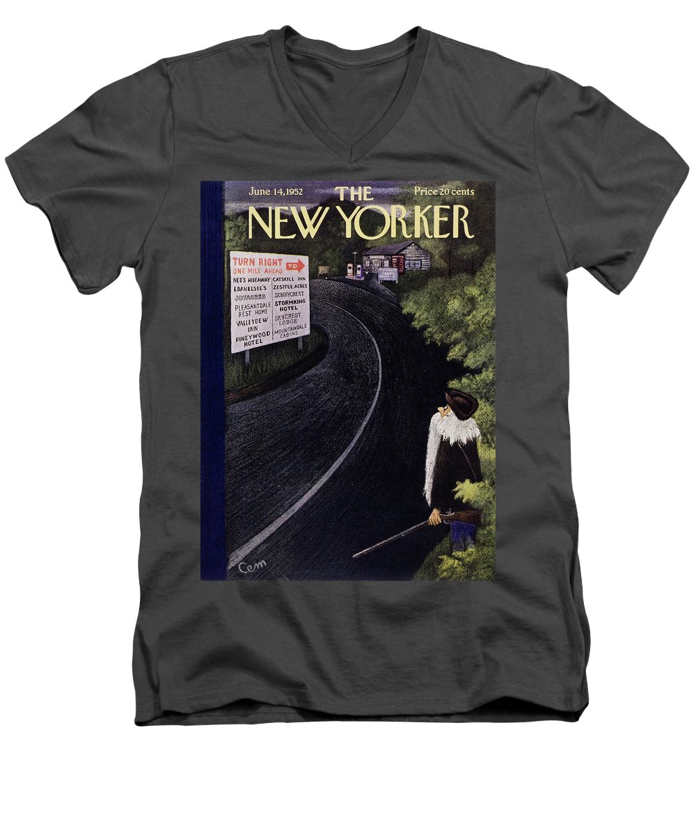 Man Men's V-Neck T-Shirt featuring the painting New Yorker June 14 1952 by Charles E Martin