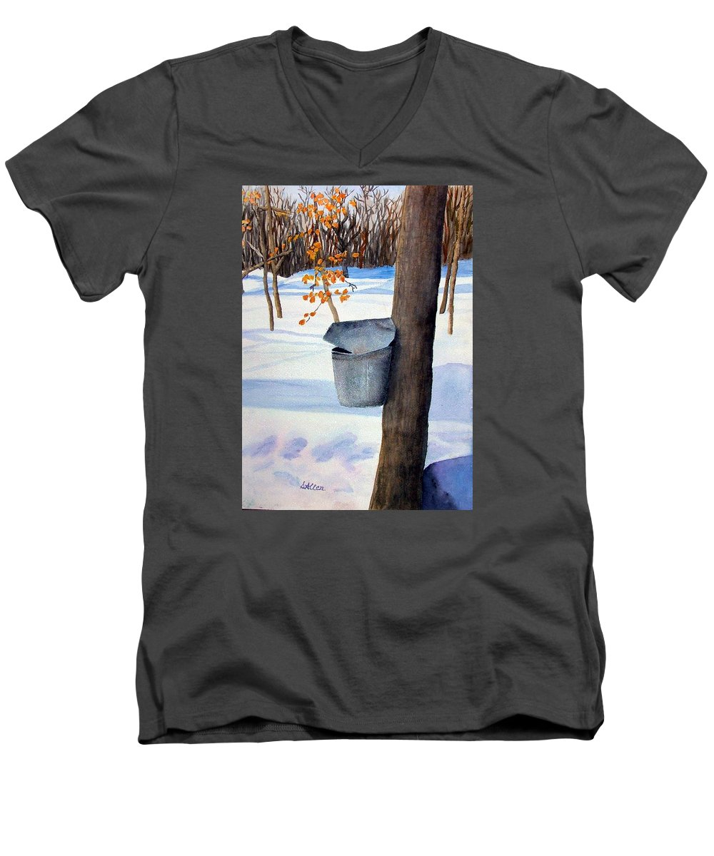 Sap Bucket. Maple Sugaring Men's V-Neck T-Shirt featuring the painting Nh Goldmine by Sharon E Allen