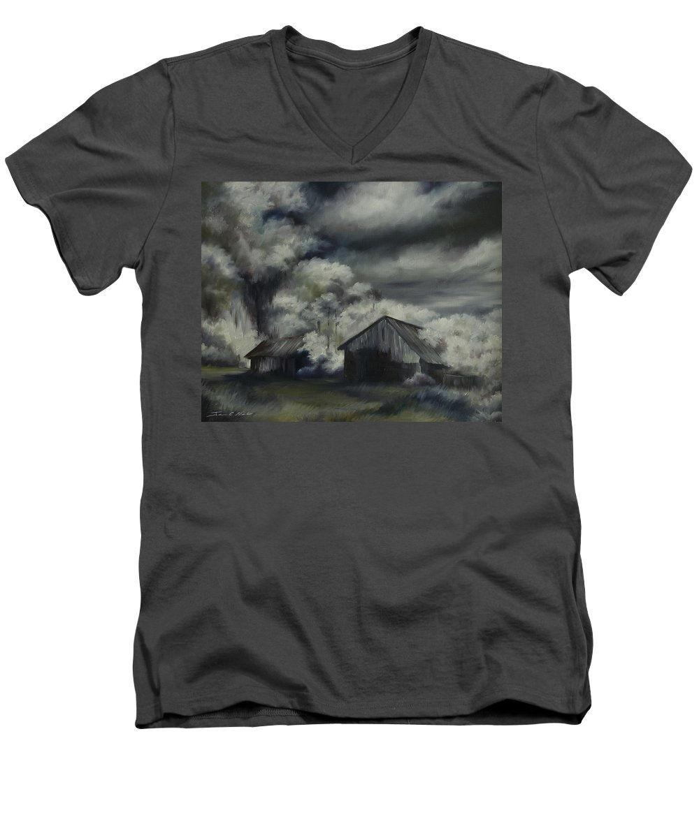 Motel; Route 66; Desert; Abandoned; Delapidated; Lost; Highway; Route 66; Road; Vacancy; Run-down; Building; Old Signage; Nastalgia; Vintage; James Christopher Hill; Jameshillgallery.com; Foliage; Sky; Realism; Oils; Barn Men's V-Neck T-Shirt featuring the painting Night Barn by James Christopher Hill