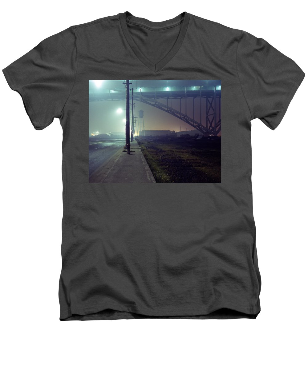 Night Photo Men's V-Neck T-Shirt featuring the photograph Nightscape 2 by Lee Santa
