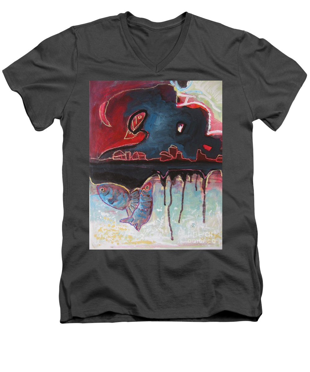 Abstract Paintings Men's V-Neck T-Shirt featuring the painting Nipper by Seon-Jeong Kim