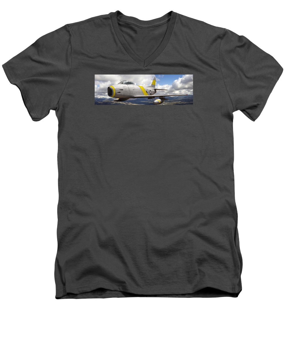 F-86 Sabre Men's V-Neck T-Shirt featuring the photograph North American F-86 Sabre by Larry McManus