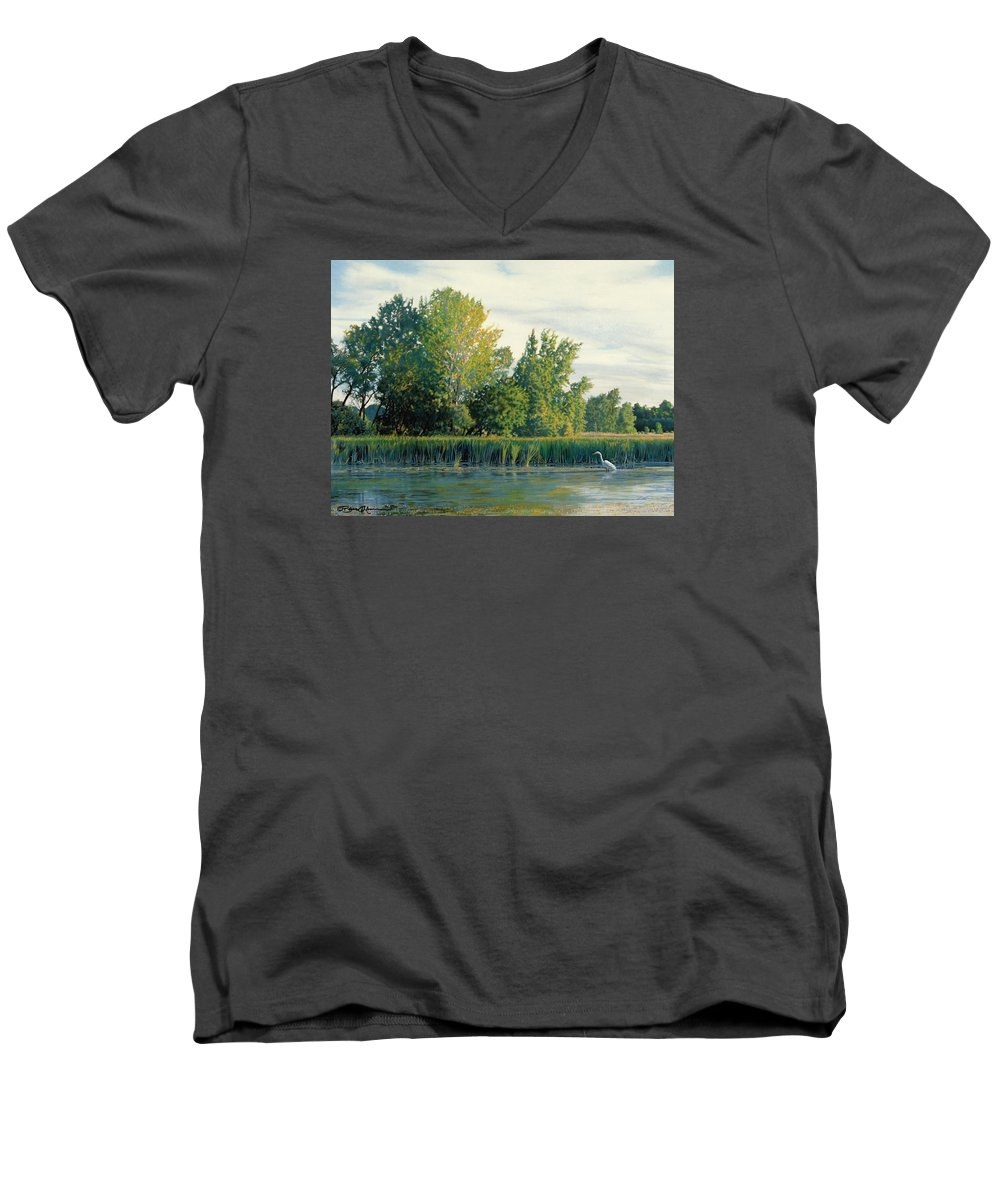 Great Egret Men's V-Neck T-Shirt featuring the drawing North Of The Grade-great Egret by Bruce Morrison