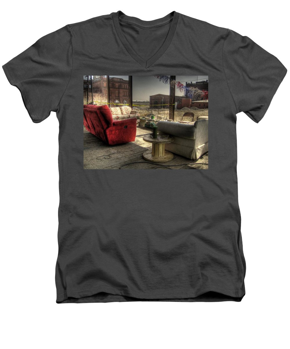 Hdr Men's V-Neck T-Shirt featuring the photograph North St. Louis Porch by Jane Linders
