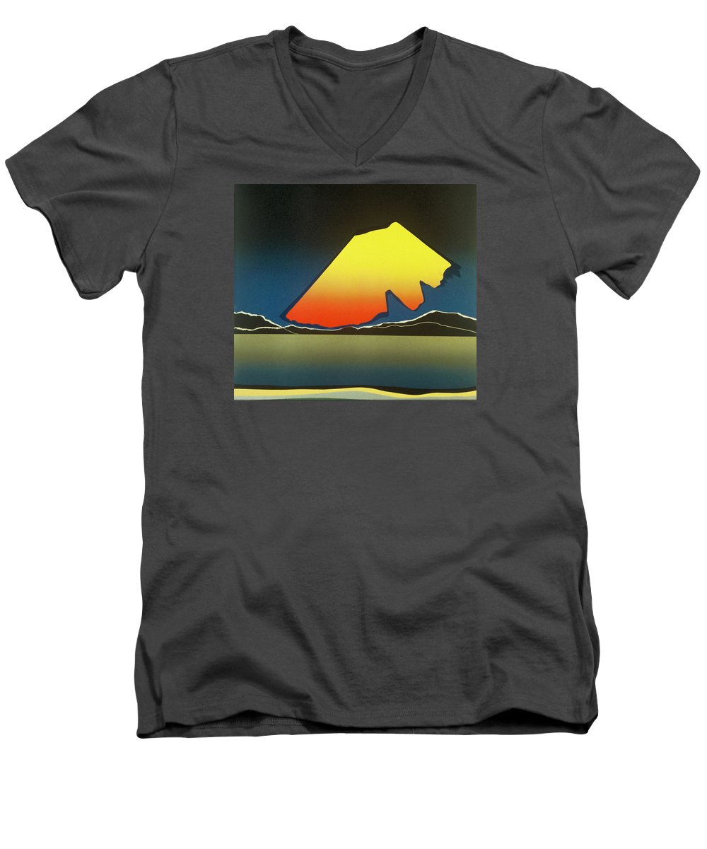 Landscape Men's V-Neck T-Shirt featuring the mixed media Northern Light. by Jarle Rosseland