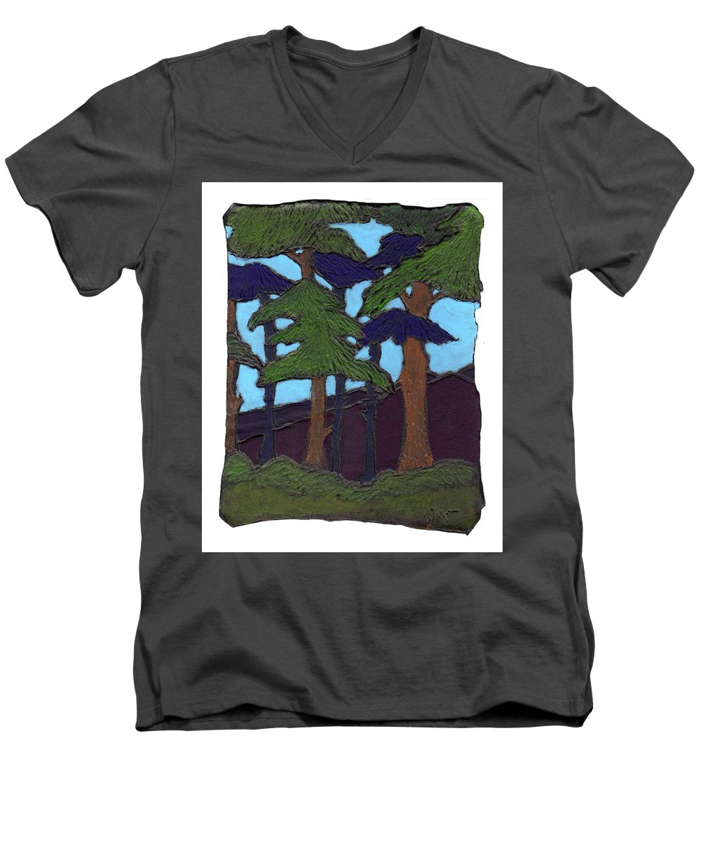 Tree Men's V-Neck T-Shirt featuring the painting Northern Woods by Wayne Potrafka