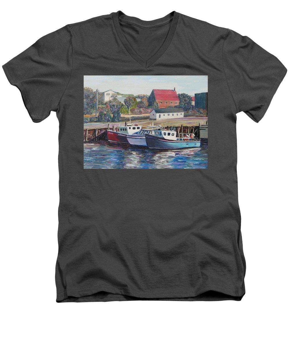 Nova Scotia Men's V-Neck T-Shirt featuring the painting Nova Scotia Boats by Richard Nowak