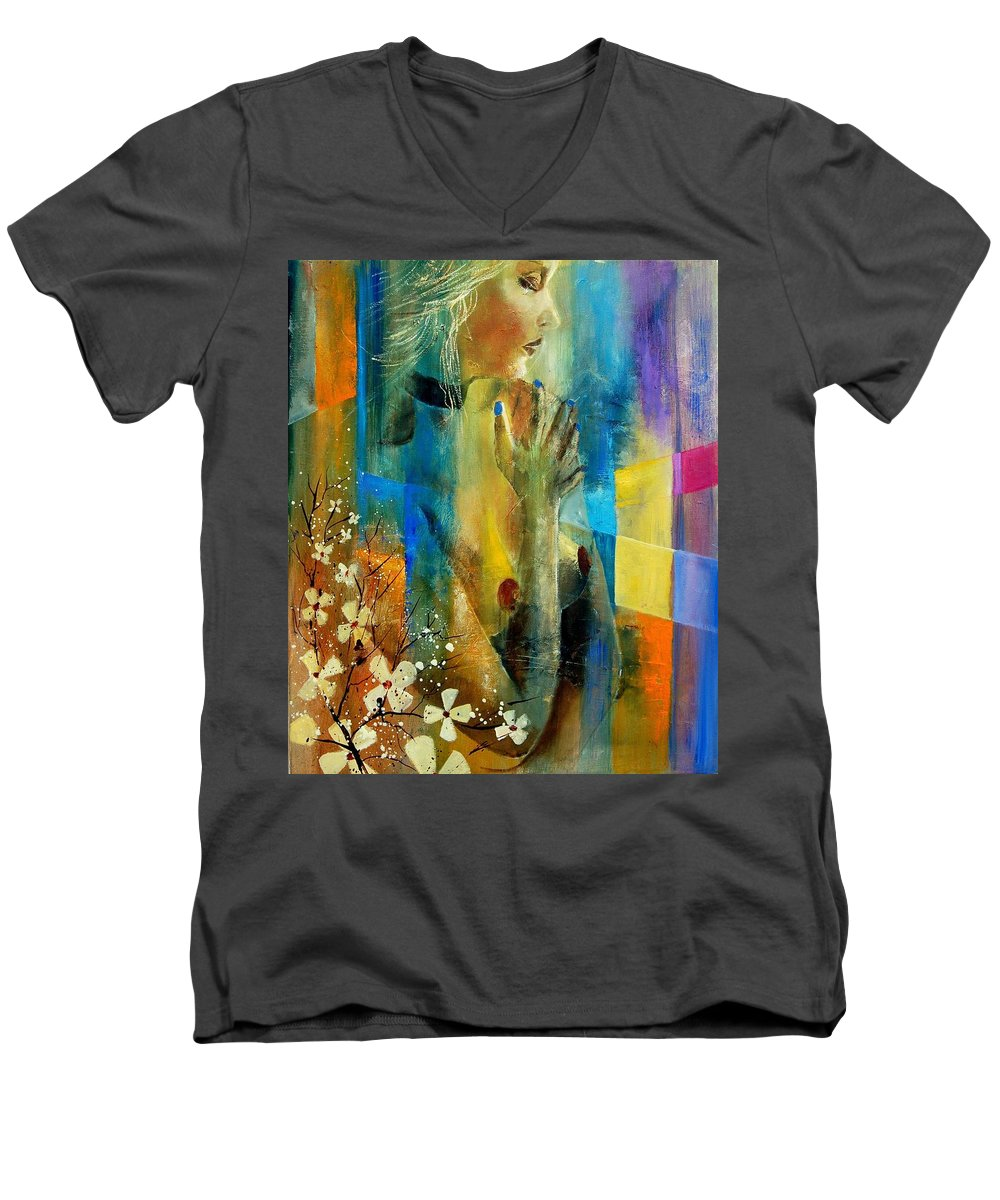 Nude Men's V-Neck T-Shirt featuring the painting Nude 5609082 by Pol Ledent