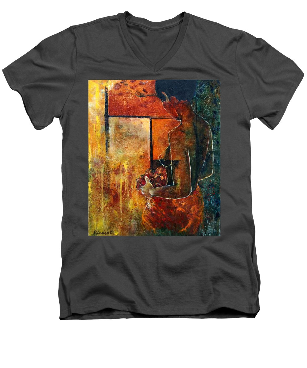 Woman Girl Fashion Nude Men's V-Neck T-Shirt featuring the painting Nude by Pol Ledent