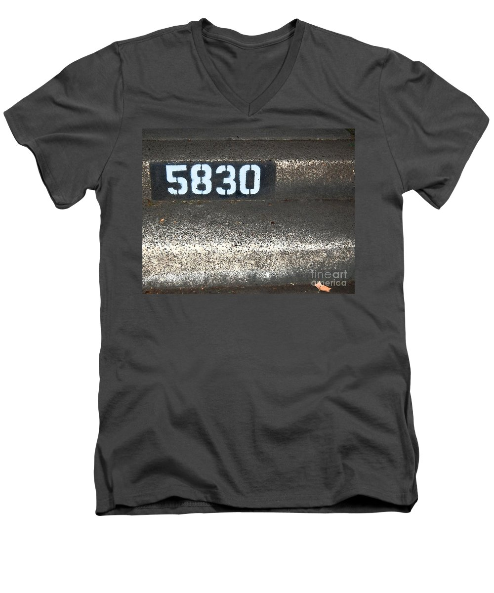 Numbers Men's V-Neck T-Shirt featuring the photograph Numbers by Debbi Granruth