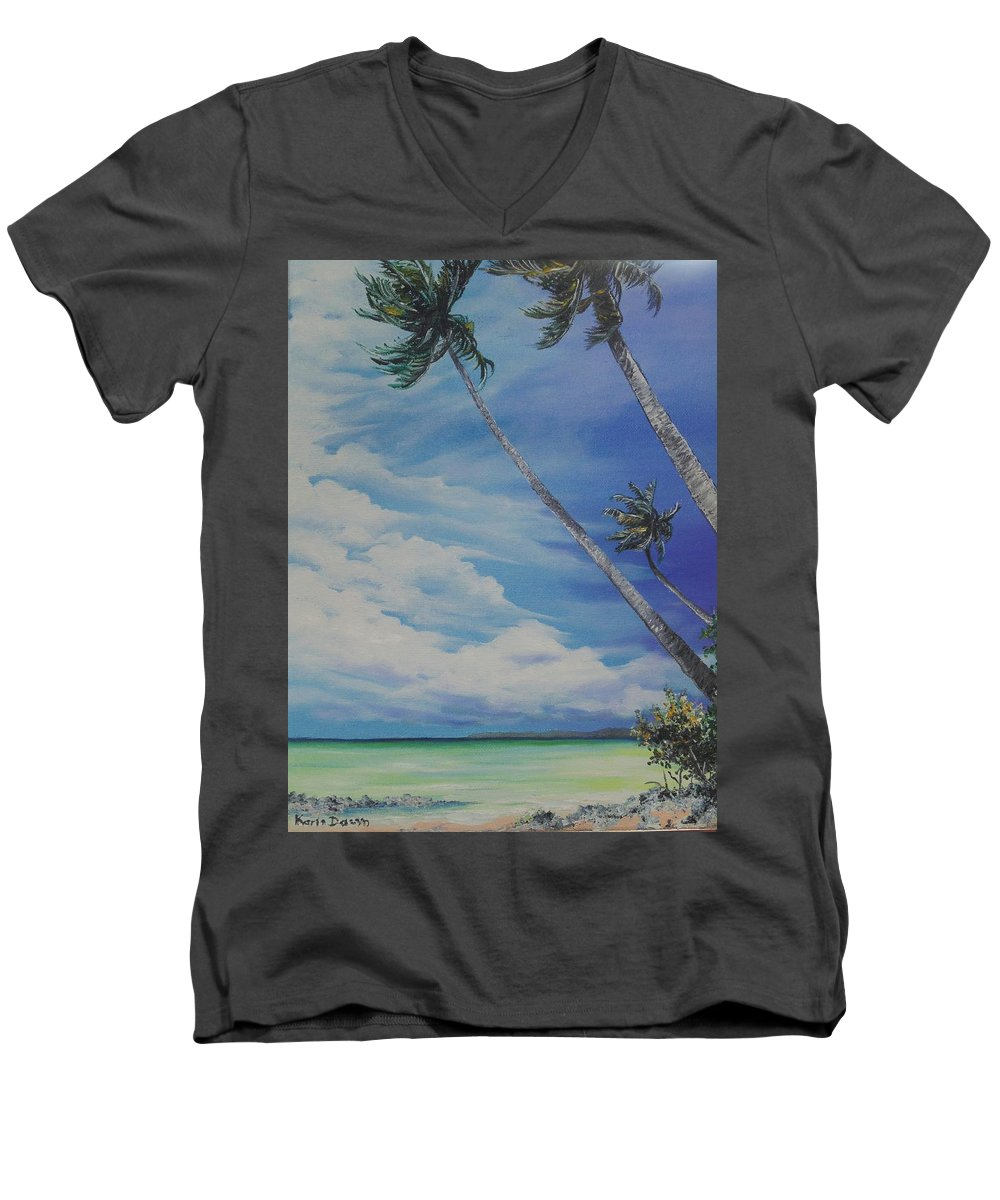 Trinidad And Tobago Seascape Men's V-Neck T-Shirt featuring the painting Nylon Pool Tobago. by Karin Dawn Kelshall- Best